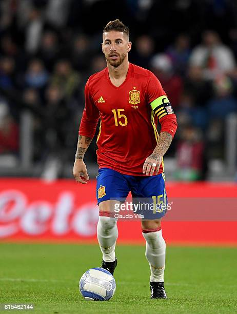 Sergio Ramos of Spain in action during the FIFA 2018 World Cup Qualifier between Italy and Spain at Juventus Stadium on October 6 2016 in Turin Italy