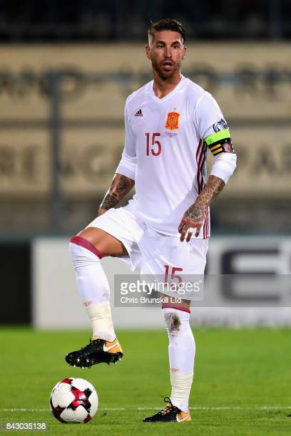 Sergio Ramos of Spain in action during the FIFA 2018 World Cup Qualifier between Liechtenstein and Spain at Rheinpark Stadion on September 5 2017 in...