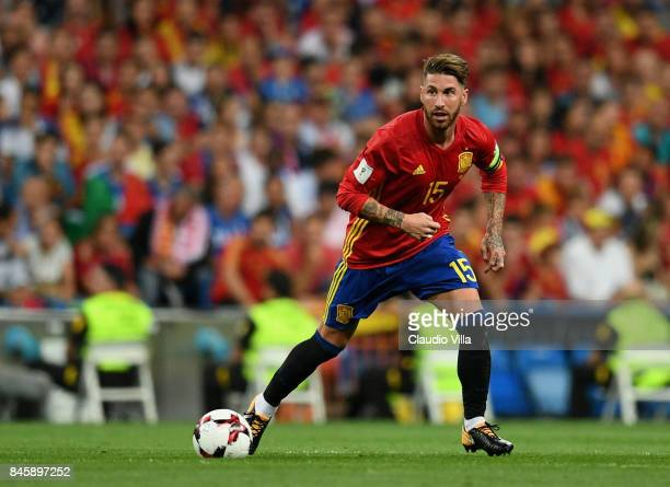 Sergio Ramos of Spain in action during the FIFA 2018 World Cup Qualifier between Spain and Italy at Estadio Santiago Bernabeu on September 2 2017 in...