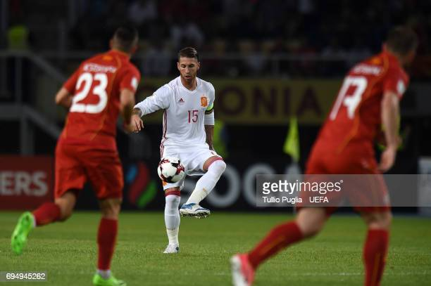 Sergio Ramos of Spain in action during the FIFA 2018 World Cup Qualifier between FYR Macedonia and Spain at Nacional Arena Filip II Makedonski on...