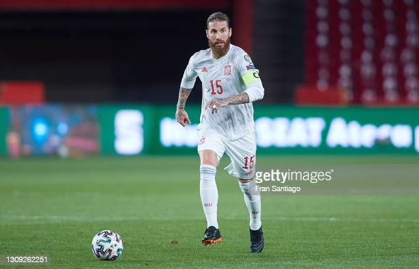 Sergio Ramos of Spain in action during the FIFA World Cup 2022 Qatar qualifying match between Spain and Greece on March 25, 2021 in Granada, Spain.