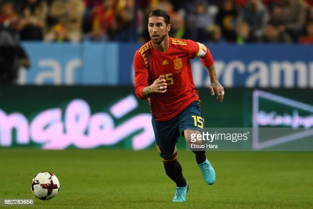 Sergio Ramos of Spain in action during the international friendly match between Spain and Costa Rica at La Rosaleda Stadium on November 11 2017 in...