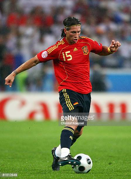 Sergio Ramos of Spain in action during the UEFA EURO 2008 Group D match between Spain and Russia at Stadion Tivoli Neu on June 10 2008 in Innsbruck...