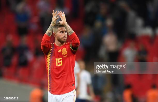 Sergio Ramos of Spain in action during the UEFA Nations League A group four match between England and Spain at Wembley Stadium on September 8 2018 in...