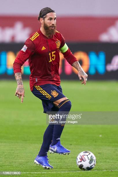 Sergio Ramos of Spain in action during the UEFA Nations League group stage match between Spain and Germany at Estadio de La Cartuja on November 17,...
