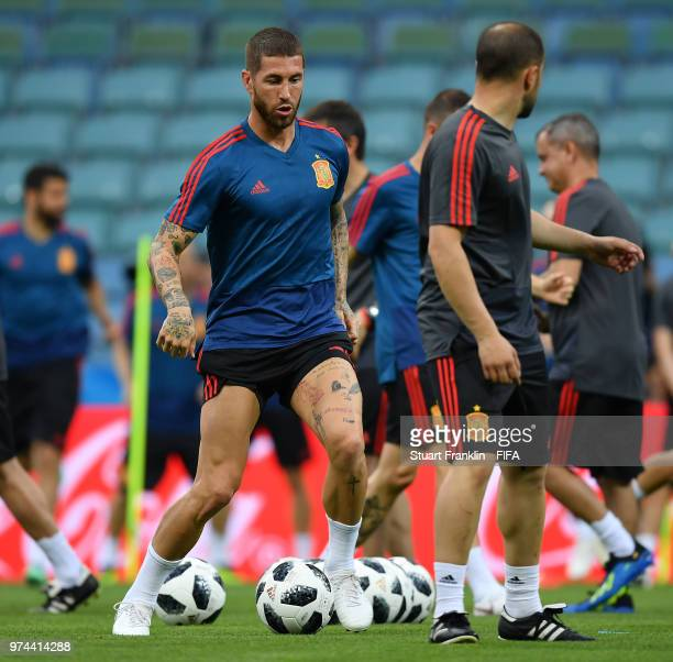 Sergio Ramos of Spain in action during training of the Spanish national football team at Fisht Stadium on June 14 2018 in Sochi Russia