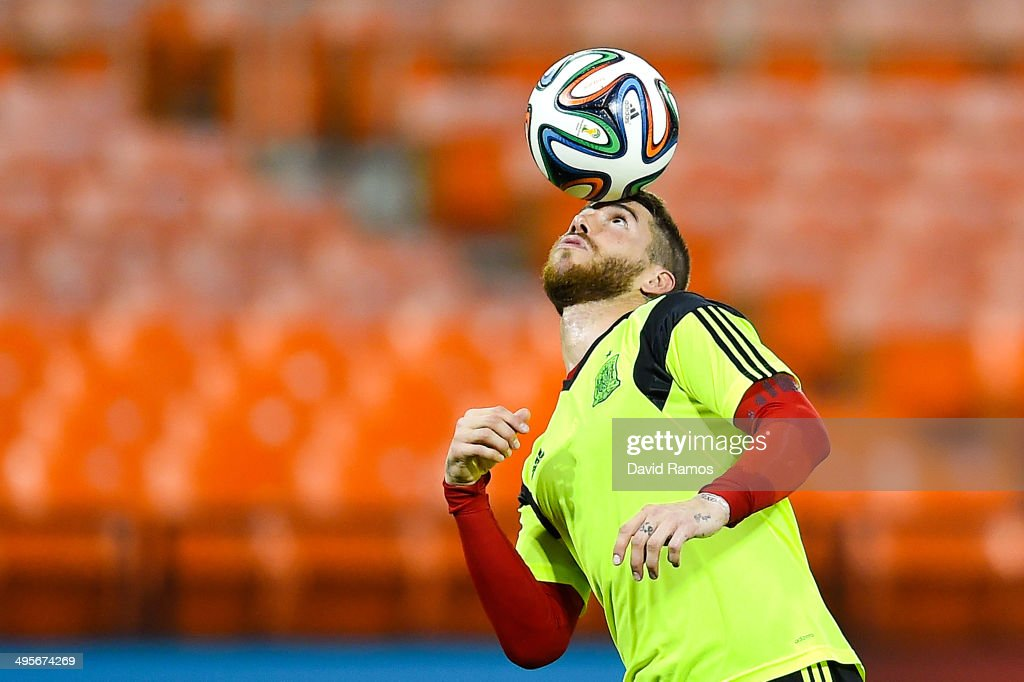Sergio Ramos of Spain juggles the ball during a training session of the Spain National Team at the Robert F. Kennedy Stadium on June 4, 2014 in Washington, DC.