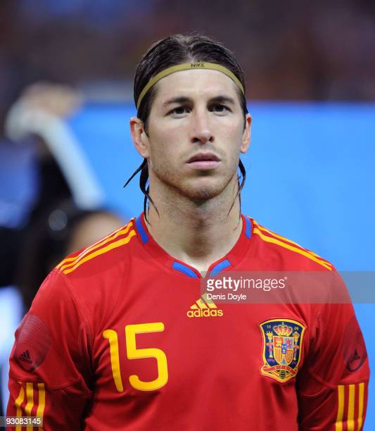 Sergio Ramos of Spain linesup before the International friendly match between Argentina and Spain at the Vicente Calderon stadium on November 14 2009...