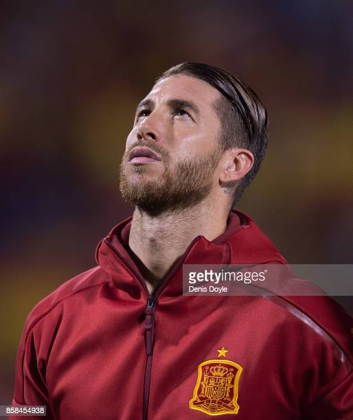 Sergio Ramos of Spain lines-up for the Spanish national anthem before the FIFA 2018 World Cup Qualifier between Spain and Albania at Estadio Jose...