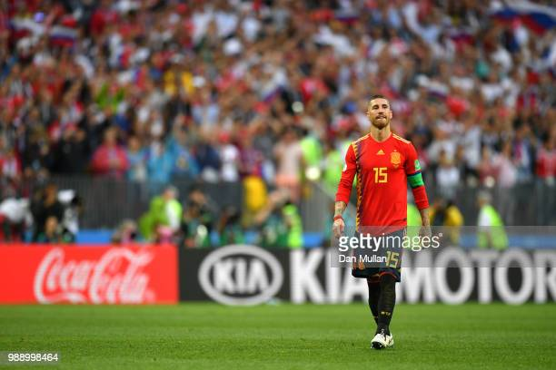 Sergio Ramos of Spain looks dejected following his sides defeat in the 2018 FIFA World Cup Russia Round of 16 match between Spain and Russia at...