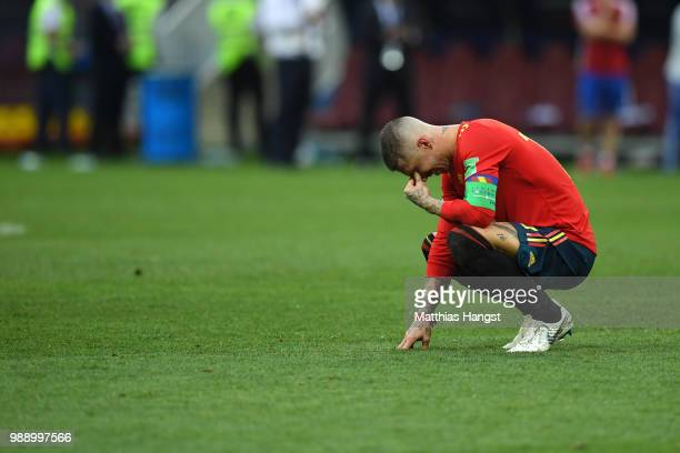 Sergio Ramos of Spain looks dejected following the 2018 FIFA World Cup Russia Round of 16 match between Spain and Russia at Luzhniki Stadium on July...