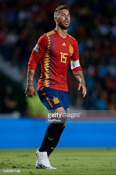 Sergio Ramos of Spain looks on during the UEFA Nations League A group four match between Spain and Croatia at Manuel Martinez Valero on September 11,...