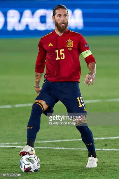 Sergio Ramos of Spain looks on during the UEFA Nations League group stage match between Spain and Ukraine at Estadio Alfredo Di Stefano on September...