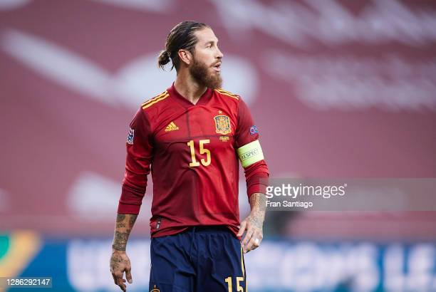 Sergio Ramos of Spain looks on during the UEFA Nations League group stage match between Spain and Germany at Estadio de La Cartuja on November 17,...