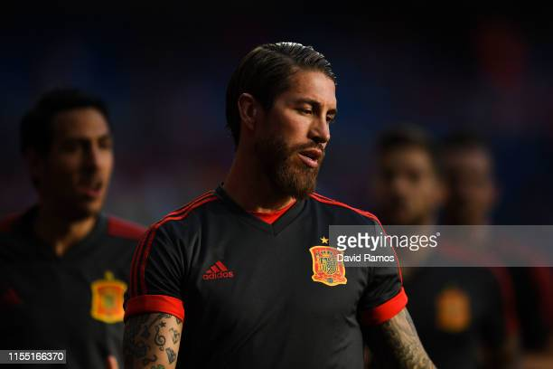Sergio Ramos of Spain looks on during the warm up prior to the UEFA Euro 2020 qualifier match between Spain and Sweden at Bernabeu on June 10 2019 in...