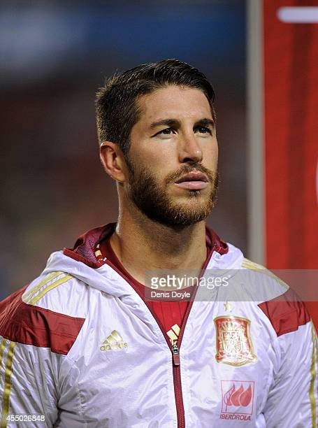 Sergio Ramos of Spain looks on prior to the start of the UEFA EURO 2016 Group C Qualifier between Spain and FYR of Macedonia at Estadio Ciutat de...