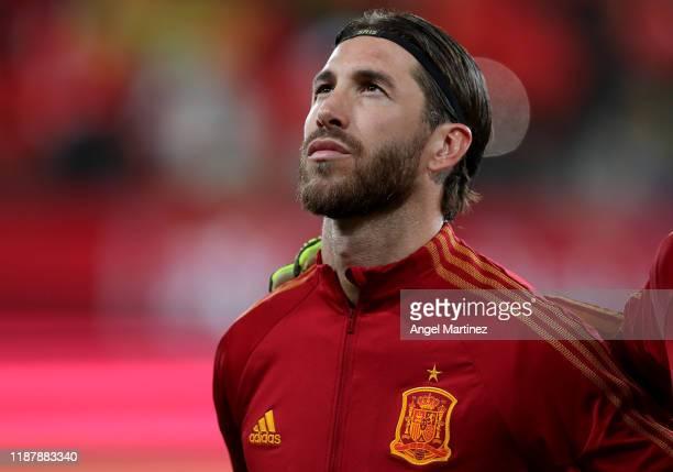 Sergio Ramos of Spain looks on prior to the UEFA Euro 2020 Qualifier between Spain and Malta on November 15, 2019 in Cadiz, Spain.