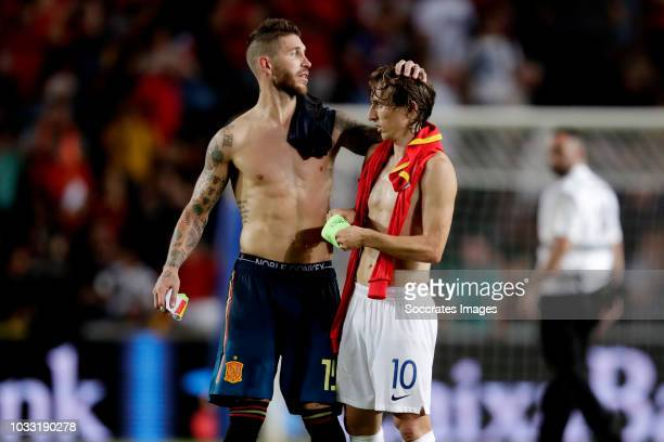 Sergio Ramos of Spain Luka Modric of Croatia during the UEFA Nations league match between Spain v Croatia at the Estadio Manuel Martínez Valero on...