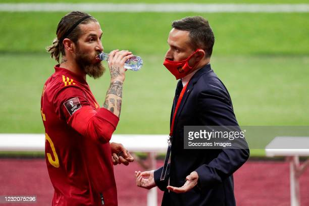 Sergio Ramos of Spain, press chief Pablo Garcia Cuervo of Spain during the World Cup Qualifier match between Spain v Kosovo at the La Cartuja Stadium...