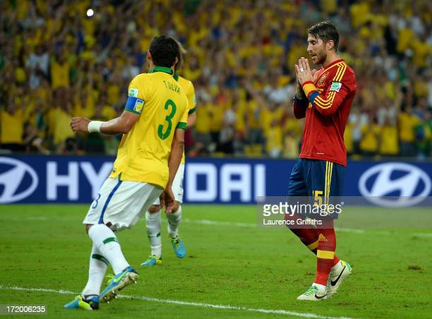 Sergio Ramos of Spain reacts after missing a penalty kick during the FIFA Confederations Cup Brazil 2013 Final match between Brazil and Spain at...