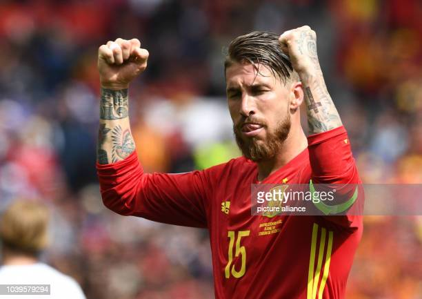 Sergio Ramos of Spain reacts after teammate Pique scored the winning goal during the Group D soccer match of the UEFA EURO 2016 between Spain and...