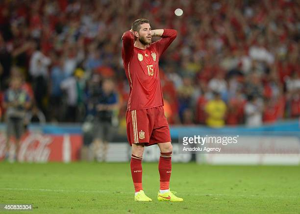 Sergio Ramos of Spain reacts after the 2014 FIFA World Cup Brazil Group B match between Spain and Chile at Estadio Maracana on June 18 2014 in Rio de...