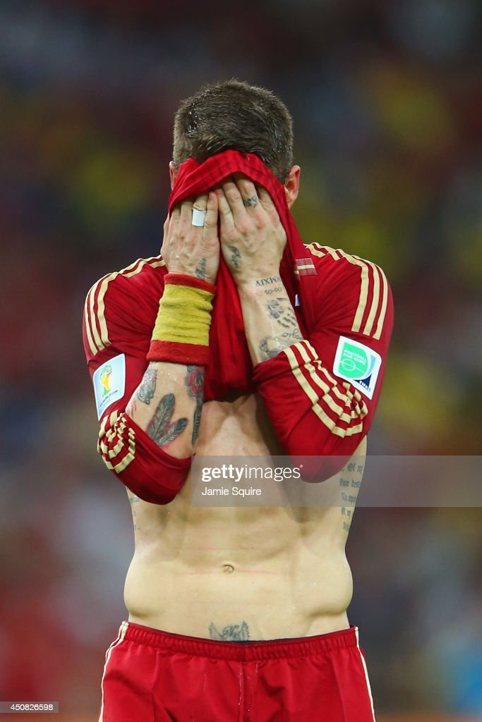 Sergio Ramos of Spain reacts during the 2014 FIFA World Cup Brazil Group B match between Spain and Chile at Maracana on June 18, 2014 in Rio de Janeiro, Brazil.