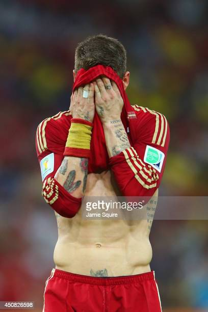 Sergio Ramos of Spain reacts during the 2014 FIFA World Cup Brazil Group B match between Spain and Chile at Maracana on June 18 2014 in Rio de...