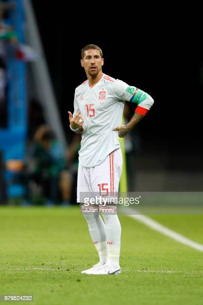 Sergio Ramos of Spain reacts during the 2018 FIFA World Cup Russia group B match between Iran and Spain at Kazan Arena on June 20 2018 in Kazan Russia