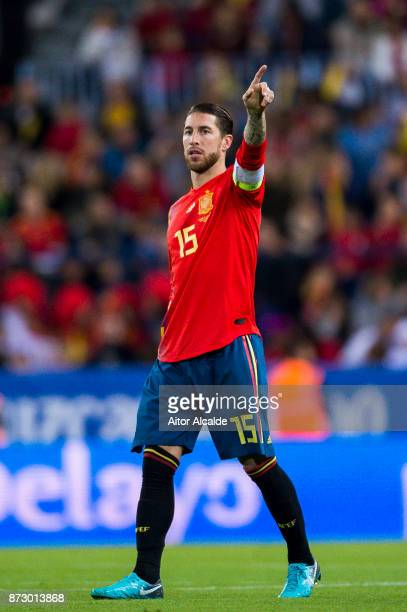 Sergio Ramos of Spain reacts during the international friendly match between Spain and Costa Rica at La Rosaleda Stadium on November 11 2017 in...