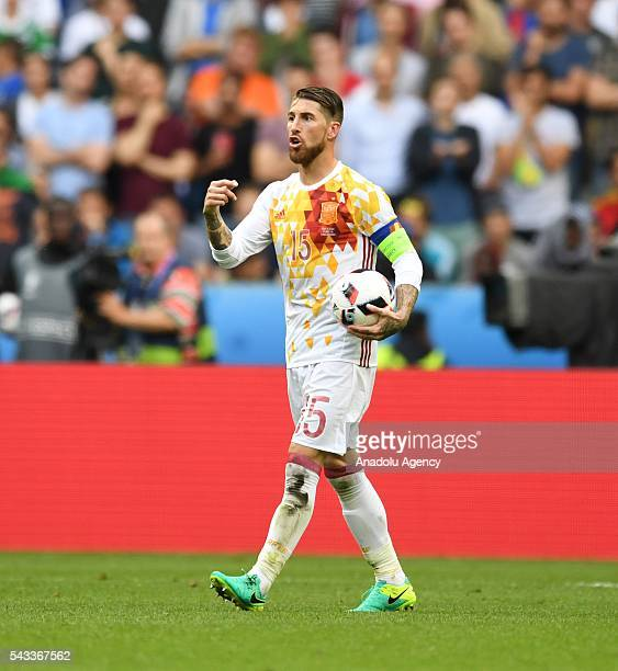 Sergio Ramos of Spain reacts during the UEFA Euro 2016 round of 16 football match between Italy and Spain at Stade de France in Paris France on June...