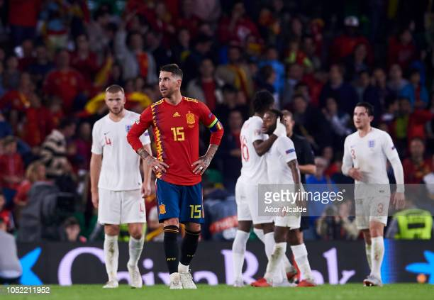 Sergio Ramos of Spain reacts during the UEFA Nations League A Group Four match between Spain and England at Estadio Benito Villamarin on October 15...