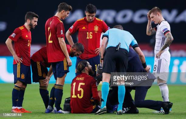 Sergio Ramos of Spain receives treatment before being substituted during the UEFA Nations League group stage match between Spain and Germany at...