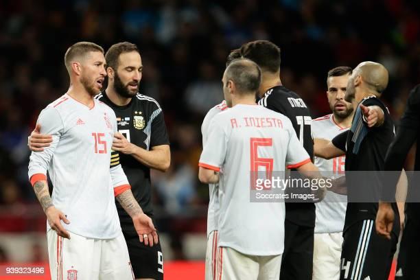 Sergio Ramos of Spain Rodrigo Moreno of Spain Javier Mascherano of Argentina during the International Friendly match between Spain v Argentina at the...