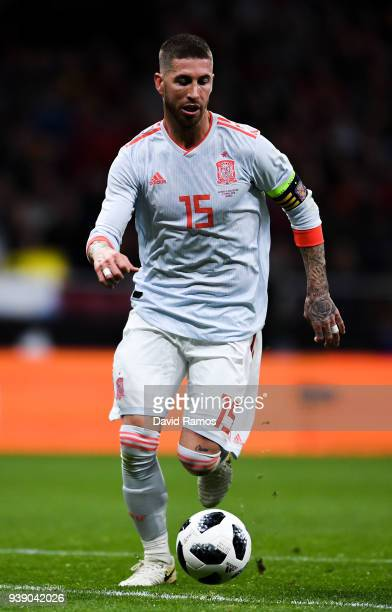 Sergio Ramos of Spain runs with the ball during an International friendly match between Spain and Argentina at the Wanda Metropolitano stadium on...