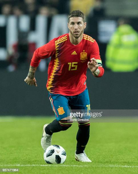 Sergio Ramos of Spain runs with the ball during the international friendly match between Germany and Spain at EspritArena on March 23 2018 in...