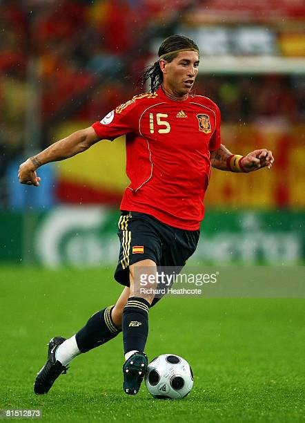 Sergio Ramos of Spain runs with the ball during the UEFA EURO 2008 Group D match between Spain and Russia at Stadion Tivoli Neu on June 10 2008 in...