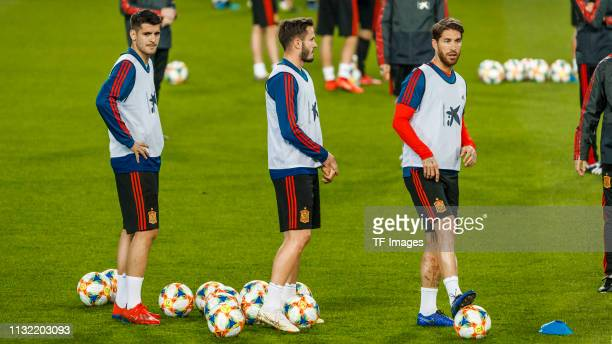 Sergio Ramos of Spain Saul Niguez of Spain and Alvaro Morata of Spain look on during the Spain training session at Mestalla Stadium on March 22 2019...