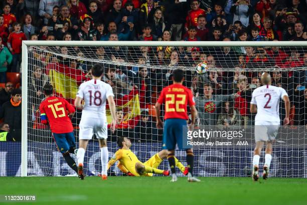 Sergio Ramos of Spain scores a goal to make it 21 during the 2020 UEFA European Championships group F qualifying match between Spain and Norway at...