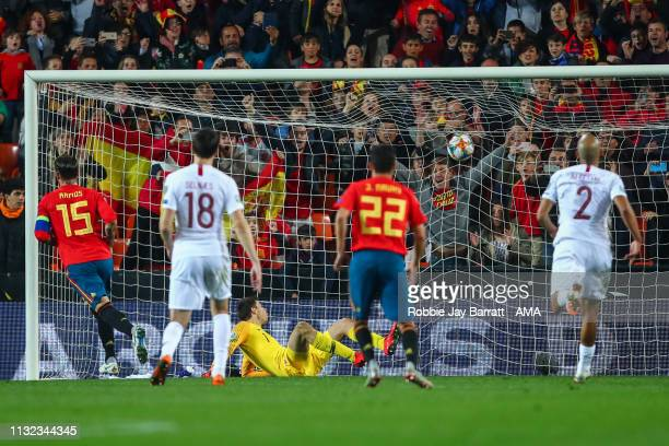 Sergio Ramos of Spain scores a goal to make it 2-1 during the 2020 UEFA European Championships group F qualifying match between Spain and Norway at...
