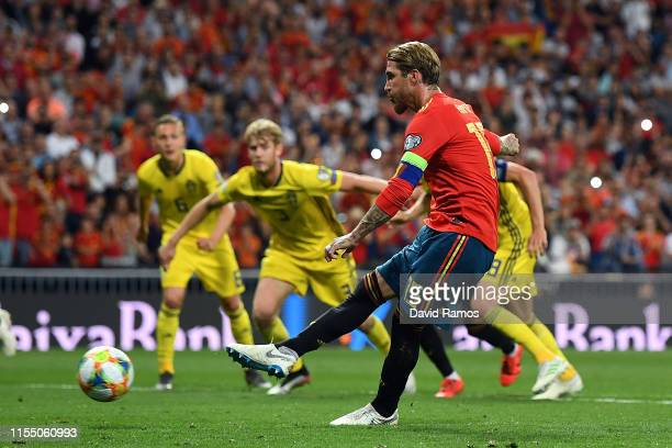 Sergio Ramos of Spain scores during the 2020 UEFA European Championships group F match between Spain and Sweden at Bernabeu on June 10 2019 in Madrid...