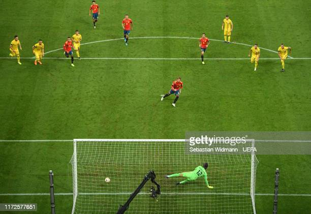 Sergio Ramos of Spain scores his team's first goal with a penalty during the UEFA EURO 2020 group F qualifying football match Romania vs Spain at...