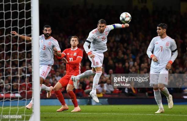 Sergio Ramos of Spain scores his team's second goal during the International Friendly match between Wales and Spain on October 11 2018 in Cardiff...