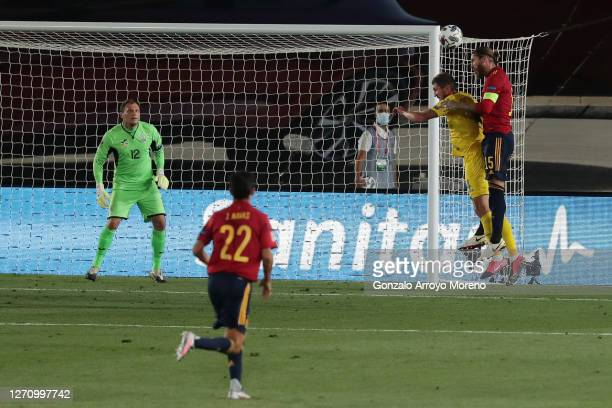 Sergio Ramos of Spain scores his team's second goal during the UEFA Nations League group stage match between Spain and Ukraine at Estadio Alfredo Di...