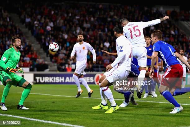 Sergio Ramos of Spain scores the opening goal during the FIFA 2018 World Cup Qualifier between Liechtenstein and Spain at Rheinpark Stadion on...