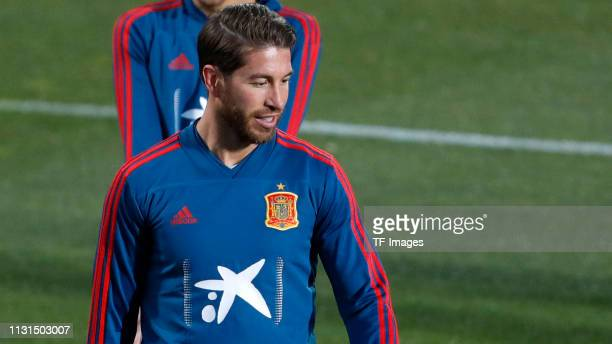 Sergio Ramos of Spain smiles during a Spain international training session at Las Rozas sports complex on March 18 2019 in Madrid Spain