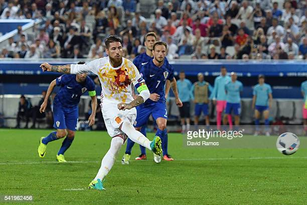 Sergio Ramos of Spain takes a penalty kick during the UEFA EURO 2016 Group D match between Croatia and Spain at Stade Matmut Atlantique on June 21...