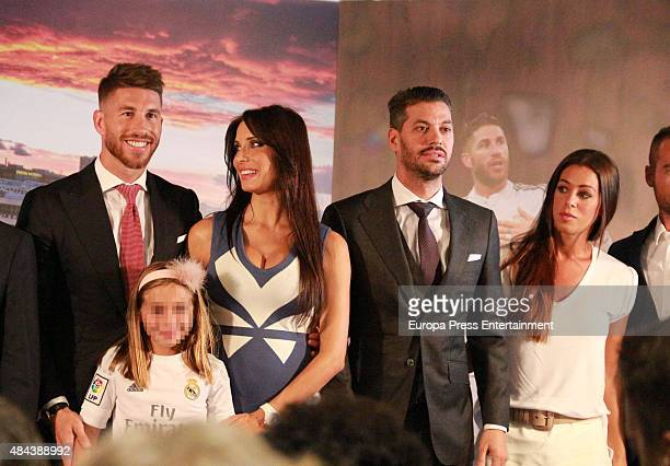 Sergio Ramos Pilar Rubio and Rene Ramos during a press conference to announce Ramos' new fiveyear contract with Real Madrid at the Santiago Bernabeu...
