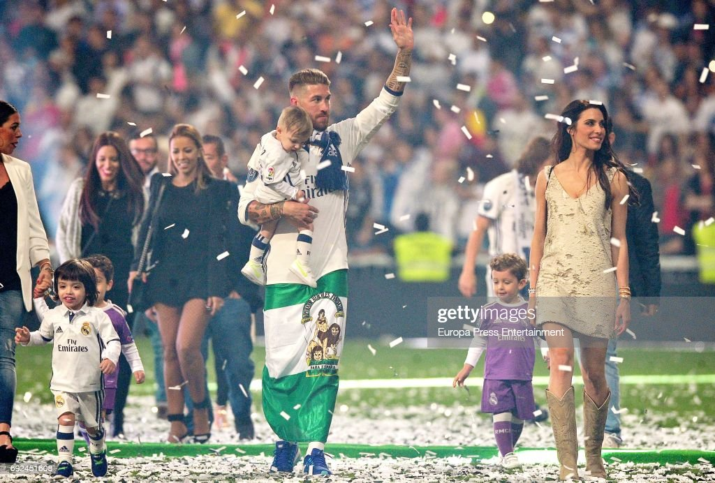 Sergio Ramos, Pilar Rubio and their son Marco Ramos Rubio celebrate during the Real Madrid celebration the day after winning the 12th UEFA Champions League Final at Santiago Bernabeu stadium on June 4, 2017 in Madrid, Spain.