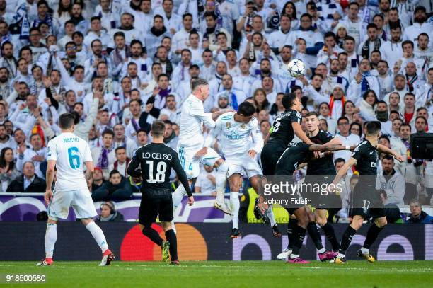 Sergio Ramos Raphael Varane of Real Madrid and Marquinhos Thomas Meunier of Paris Saint Germain during the Champions League match between Real Madrid...